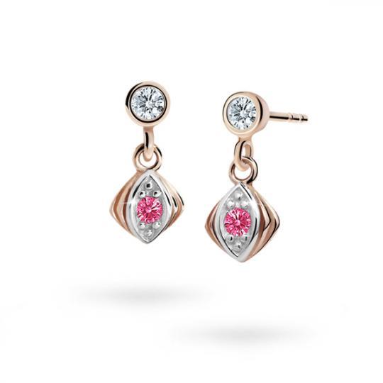 Children's earrings Danfil C1897 Rose gold, Tcf Red, Butterfly backs