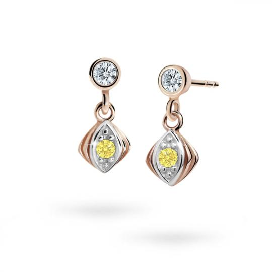 Children's earrings Danfil C1897 Rose gold, Yellow, Butterfly backs