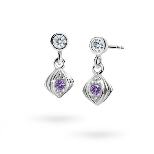 Children's earrings Danfil C1897 White gold, Amethyst, Butterfly backs