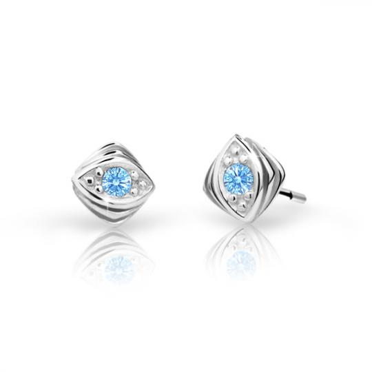 Children's earrings Danfil C1897 White gold, Arctic Blue, Butterfly backs