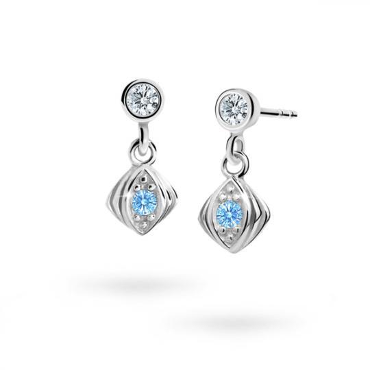 Children's earrings Danfil C1897 White gold, Arctic Blue, Butterfly backs