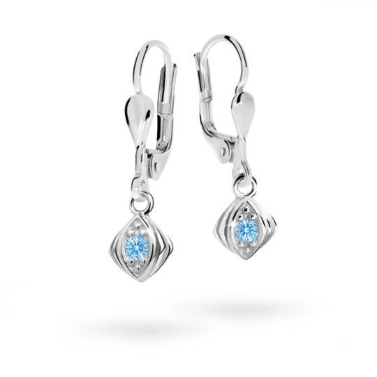 Children's earrings Danfil C1897 White gold, Arctic Blue, Leverbacks