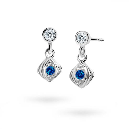 Children's earrings Danfil C1897 White gold, Dark Blue, Butterfly backs