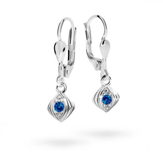 Children's earrings Danfil C1897 White gold, Dark Blue, Leverbacks