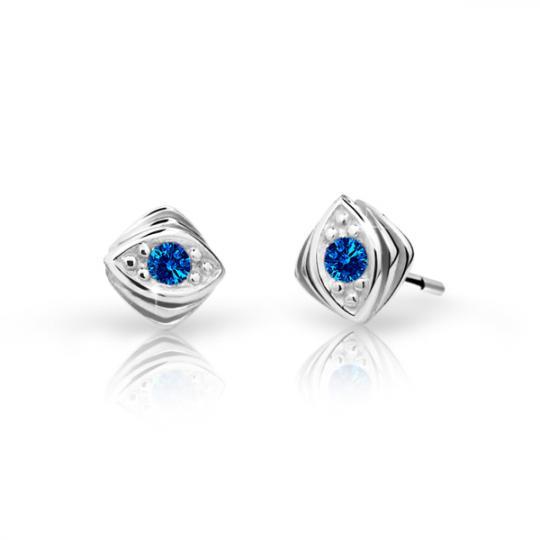 Children's earrings Danfil C1897 White gold, Dark Blue, Screw backs