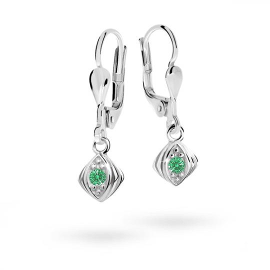 Children's earrings Danfil C1897 White gold, Emerald Green, Leverbacks