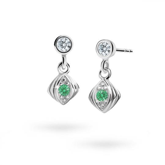 Children's earrings Danfil C1897 White gold, Emerald Green, Screw backs
