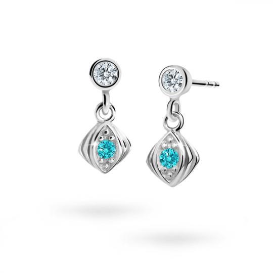 Children's earrings Danfil C1897 White gold, Mint Green, Butterfly backs