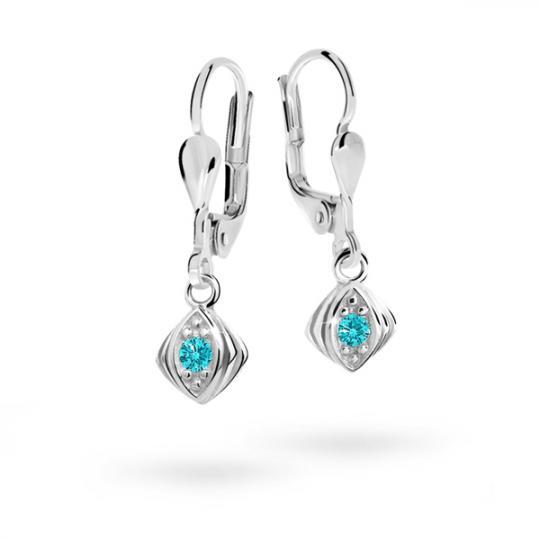 Children's earrings Danfil C1897 White gold, Mint Green, Leverbacks