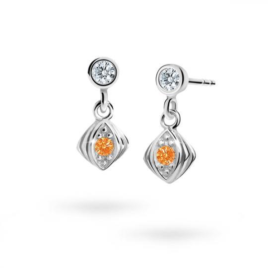 Children's earrings Danfil C1897 White gold, Orange, Butterfly backs