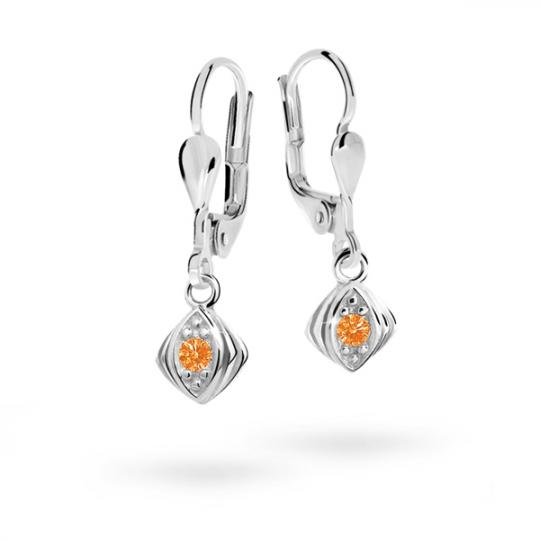 Children's earrings Danfil C1897 White gold, Orange, Leverbacks