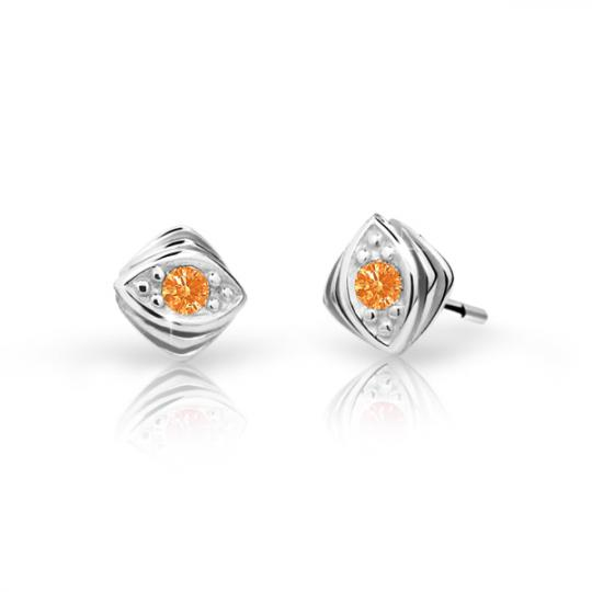 Children's earrings Danfil C1897 White gold, Orange, Screw backs