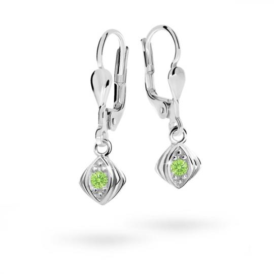 Children's earrings Danfil C1897 White gold, Peridot Green, Leverbacks