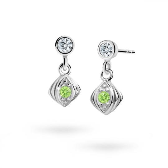 Children's earrings Danfil C1897 White gold, Peridot Green, Screw backs