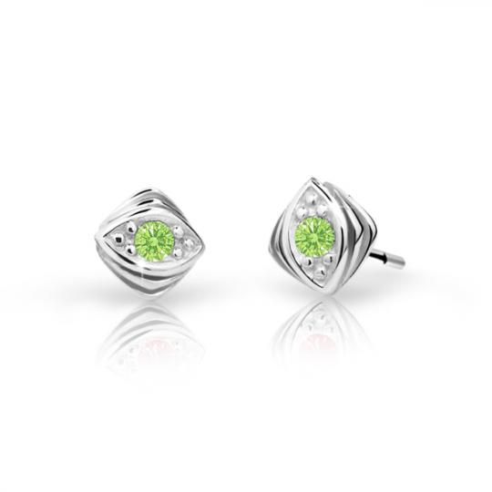 Children's earrings Danfil C1897 White gold, Peridot Green, Screw backs