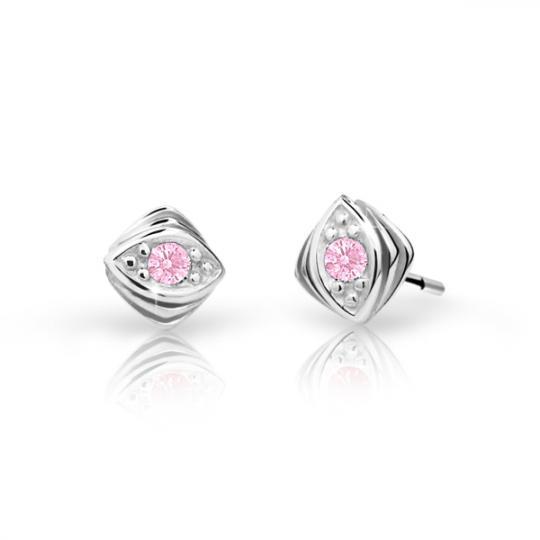 Children's earrings Danfil C1897 White gold, Pink, Butterfly backs