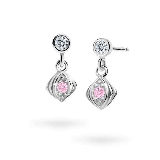 Children's earrings Danfil C1897 White gold, Pink, Butterfly backs