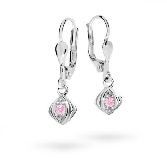 Children's earrings Danfil C1897 White gold, Pink, Leverbacks