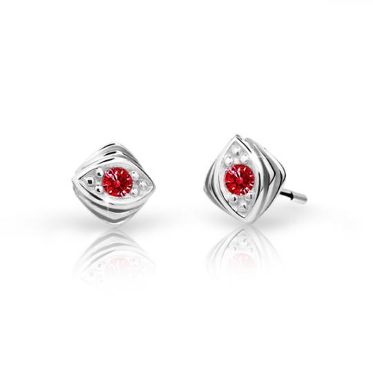 Children's earrings Danfil C1897 White gold, Ruby Dark, Butterfly backs