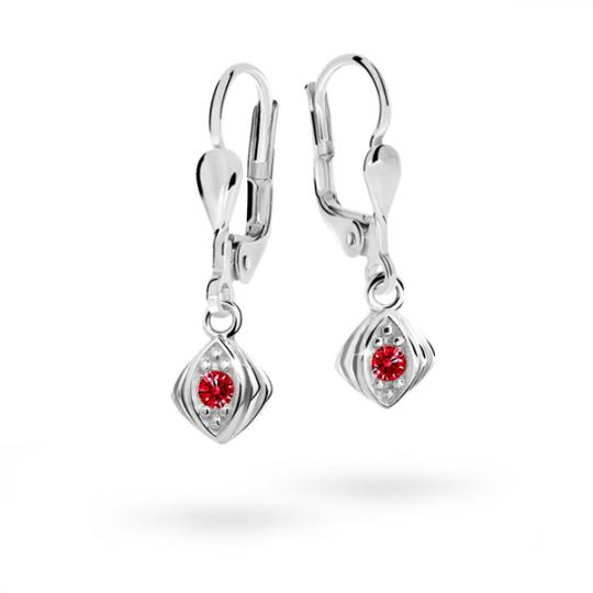 Children's earrings Danfil C1897 White gold, Ruby Dark, Leverbacks