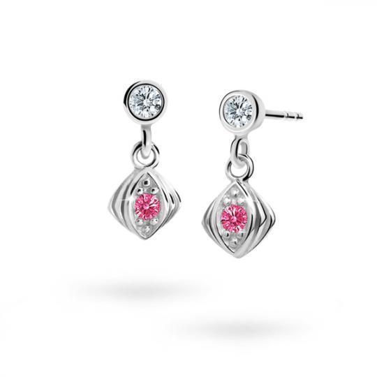 Children's earrings Danfil C1897 White gold, Tcf Red, Butterfly backs