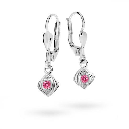 Children's earrings Danfil C1897 White gold, Tcf Red, Leverbacks