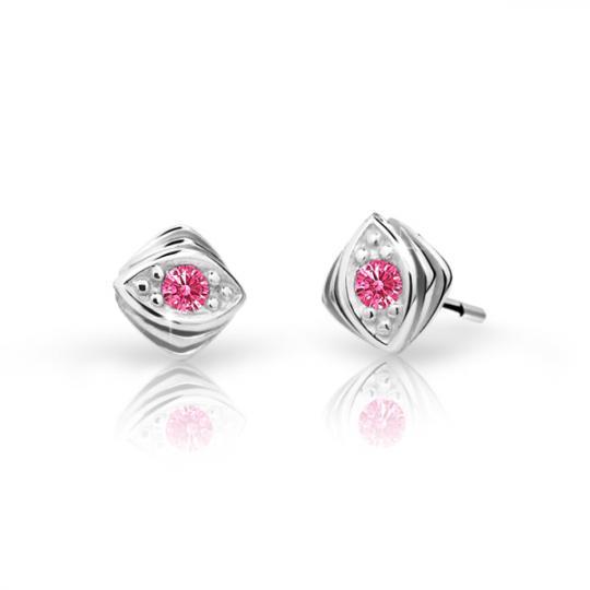 Children's earrings Danfil C1897 White gold, Tcf Red, Screw backs