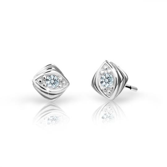 Children's earrings Danfil C1897 White gold, White, Butterfly backs