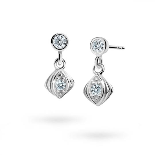 Children's earrings Danfil C1897 White gold, White, Butterfly backs