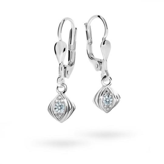 Children's earrings Danfil C1897 White gold, White, Leverbacks
