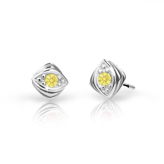 Children's earrings Danfil C1897 White gold, Yellow, Butterfly backs