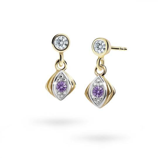 Children's earrings Danfil C1897 Yellow gold, Amethyst, Butterfly backs