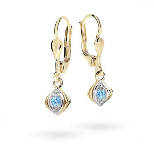 Children's earrings Danfil C1897 Yellow gold, Arctic Blue, Leverbacks