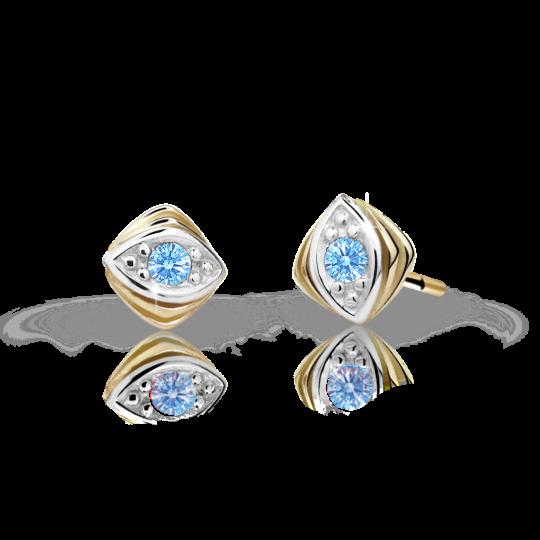 Children's earrings Danfil C1897 Yellow gold, Arctic Blue, Screw backs