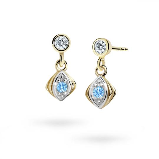 Children's earrings Danfil C1897 Yellow gold, Arctic Blue, Screw backs
