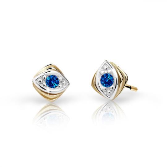 Children's earrings Danfil C1897 Yellow gold, Dark Blue, Butterfly backs