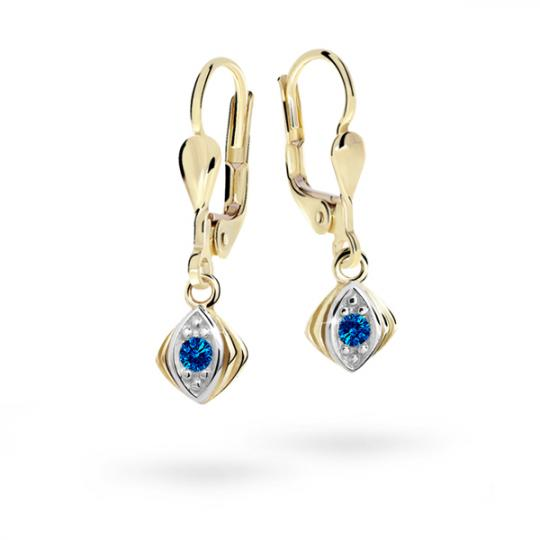 Children's earrings Danfil C1897 Yellow gold, Dark Blue, Leverbacks