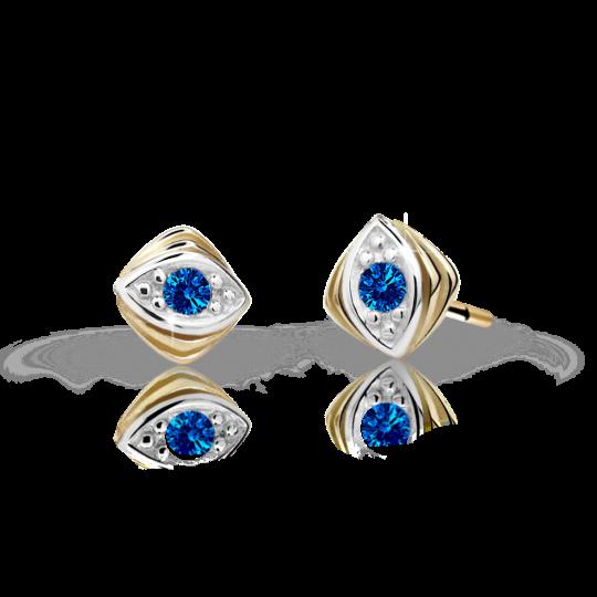 Children's earrings Danfil C1897 Yellow gold, Dark Blue, Screw backs