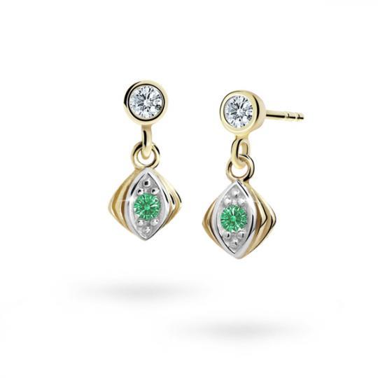Children's earrings Danfil C1897 Yellow gold, Emerald Green, Butterfly backs
