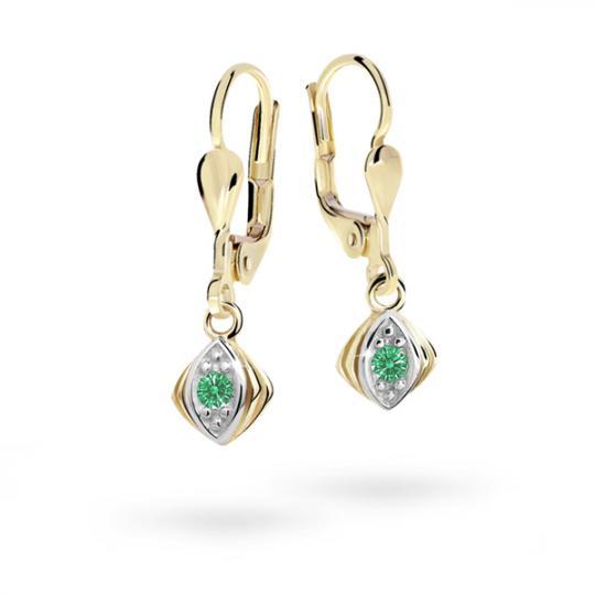 Children's earrings Danfil C1897 Yellow gold, Emerald Green, Leverbacks