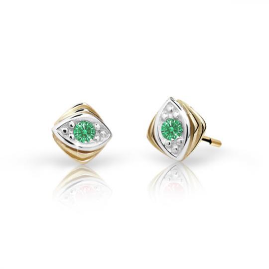 Children's earrings Danfil C1897 Yellow gold, Emerald Green, Screw backs