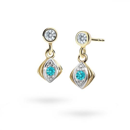 Children's earrings Danfil C1897 Yellow gold, Mint Green, Butterfly backs