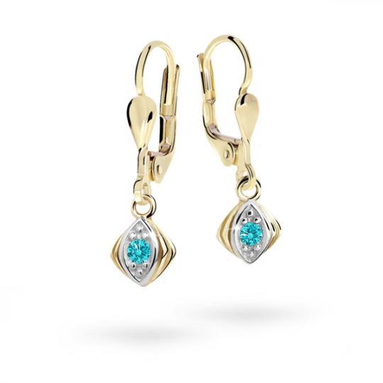 Children's earrings Danfil C1897 Yellow gold, Mint Green, Leverbacks