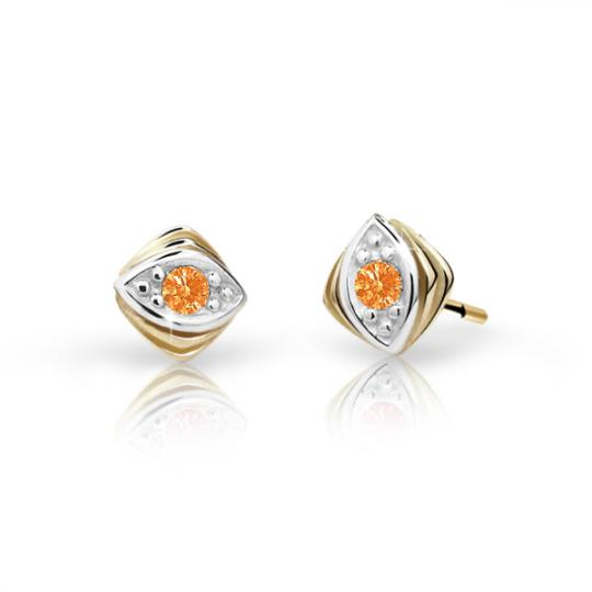 Children's earrings Danfil C1897 Yellow gold, Orange, Butterfly backs