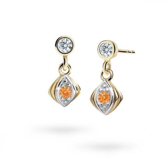 Children's earrings Danfil C1897 Yellow gold, Orange, Butterfly backs