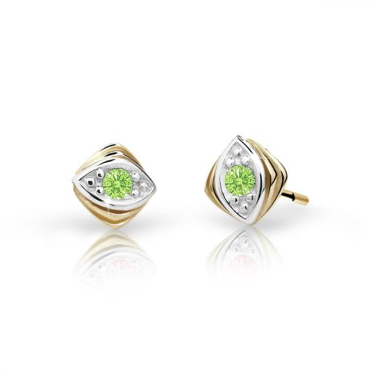 Children's earrings Danfil C1897 Yellow gold, Peridot Green, Butterfly backs