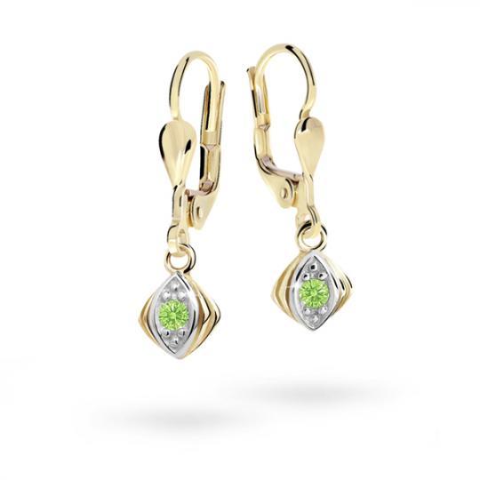 Children's earrings Danfil C1897 Yellow gold, Peridot Green, Leverbacks