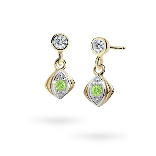 Children's earrings Danfil C1897 Yellow gold, Peridot Green, Screw backs