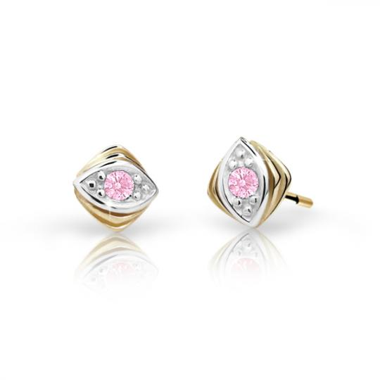 Children's earrings Danfil C1897 Yellow gold, Pink, Butterfly backs
