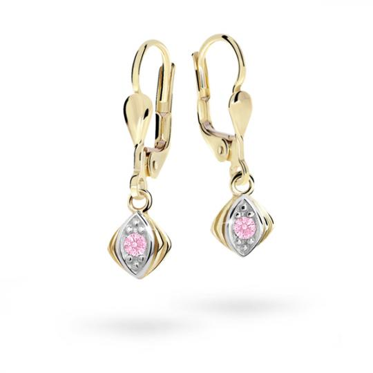 Children's earrings Danfil C1897 Yellow gold, Pink, Leverbacks